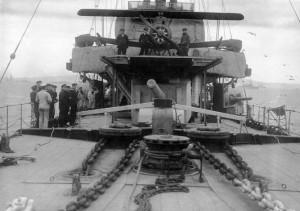 GP War 4 Caroline HMS with aircraft on flying off platform NMRN_0